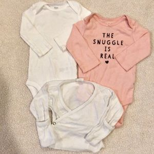 The snuggle is real & white onesie w/ cardigan 6M